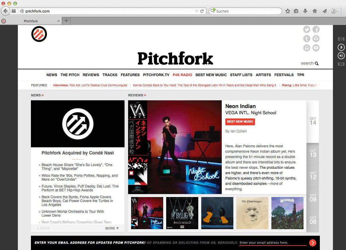EINMALIGE VERWENDUNG Conde Nast/ Pitchfork SCREENSHOT