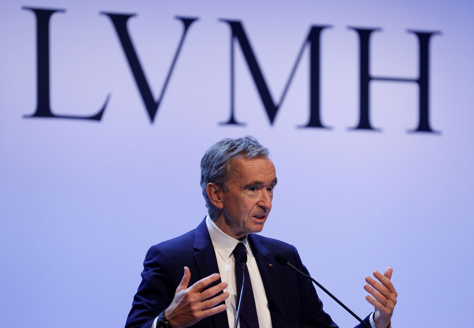 FILE PHOTO: LVMH luxury group Chief Executive Bernard Arnault announces their 2019 results in Paris