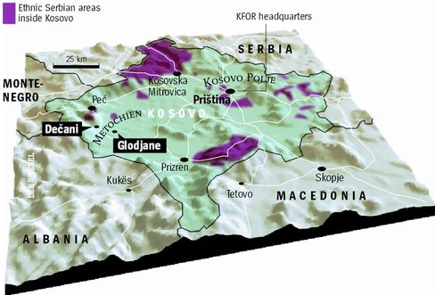 There are only a few Serbian areas left in Kosovo.