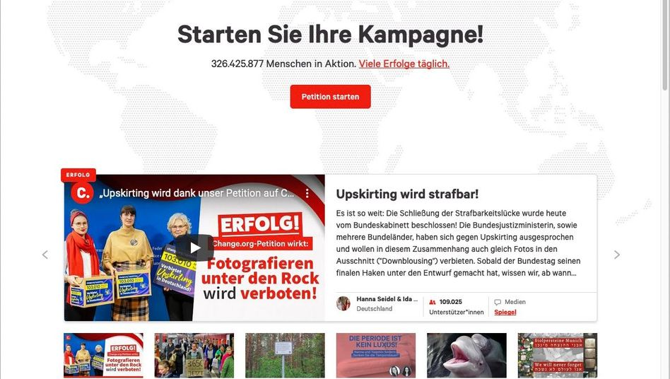 Screenshot von Change.org: Die Plattform will sich gegen die Aberkennung der Gemeinnützigkeit wehren