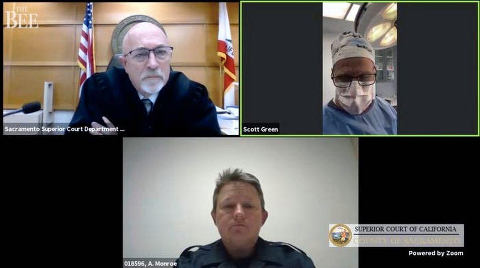 Screenshot aus der Videokonferenz: Nicht angemessen