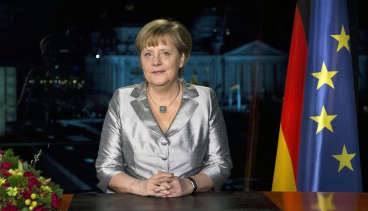 Merkel during her New Year's address. She rarely takes a firm position on big issues.