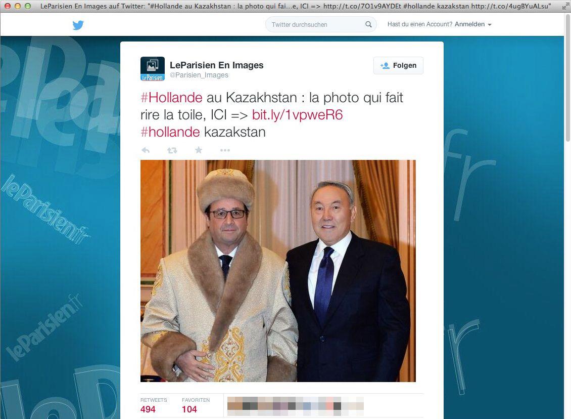 EINMALIGE VERWENDUNG SCREENSHOT Nur als Zitat/ Hollande Kazakhstan