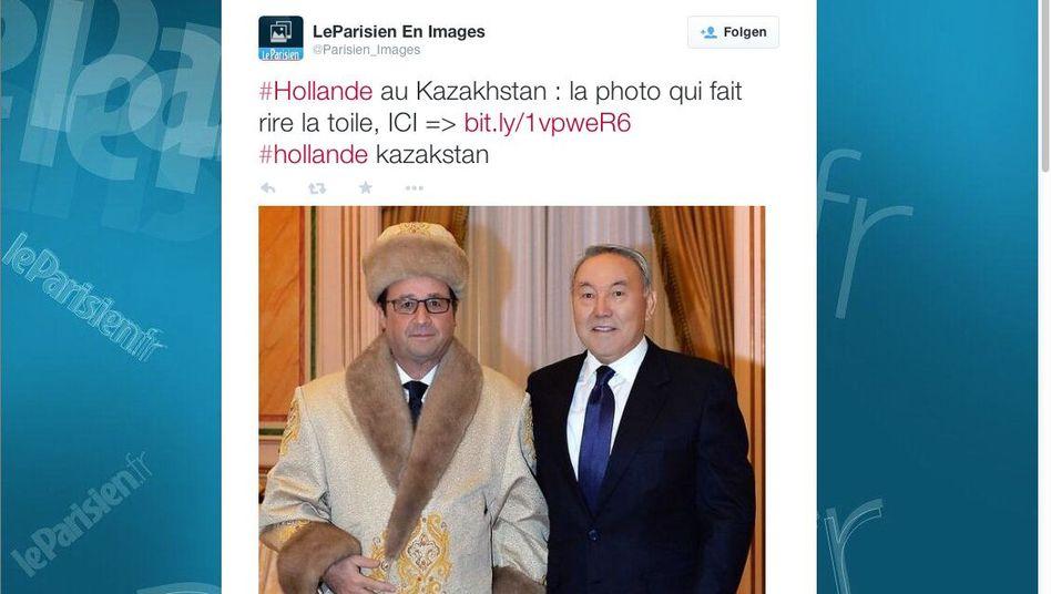 Screenshot: Der links ist François Hollande, neben ihm Nursultan Nasarbajew, Präsident Kasachstans
