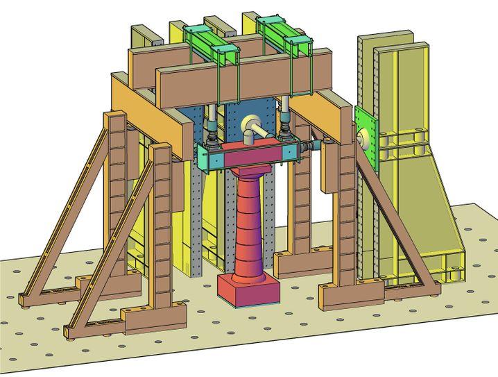 Tempelmodell: Schematische Darstellung des Versuchsaufbaus