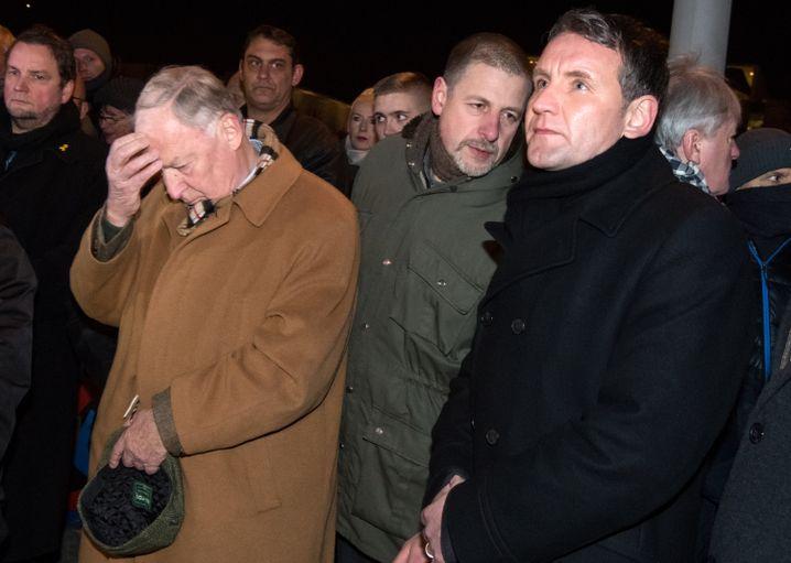 AfD-Vorsitzender Gauland, Verleger Kubitschek, AfD-Politiker Höcke (Archivbild vom Dezember 2016)