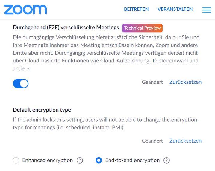 Zoom bietet auch Gratis-Nutzern eine Ende-zu-Ende-Verschlüsselung für Videomeetings. Die Funktion befindet sich noch im Teststadium, lässt sich aber bereits nutzen.