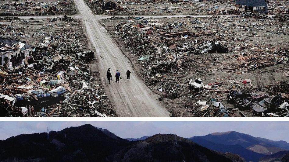 Zerstörtes Rikuzentakata 2011 (o.), 2012: Viel kleiner planen