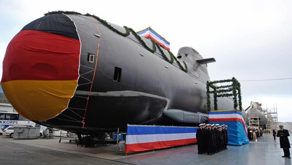 A German submarine built at a Kiel shipyard. There has been a boom in arms exports.
