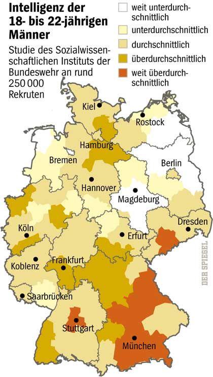 Intelligenz-Studie: Weiße Flecken in den neuen Ländern, Bremen und Ostfriesland