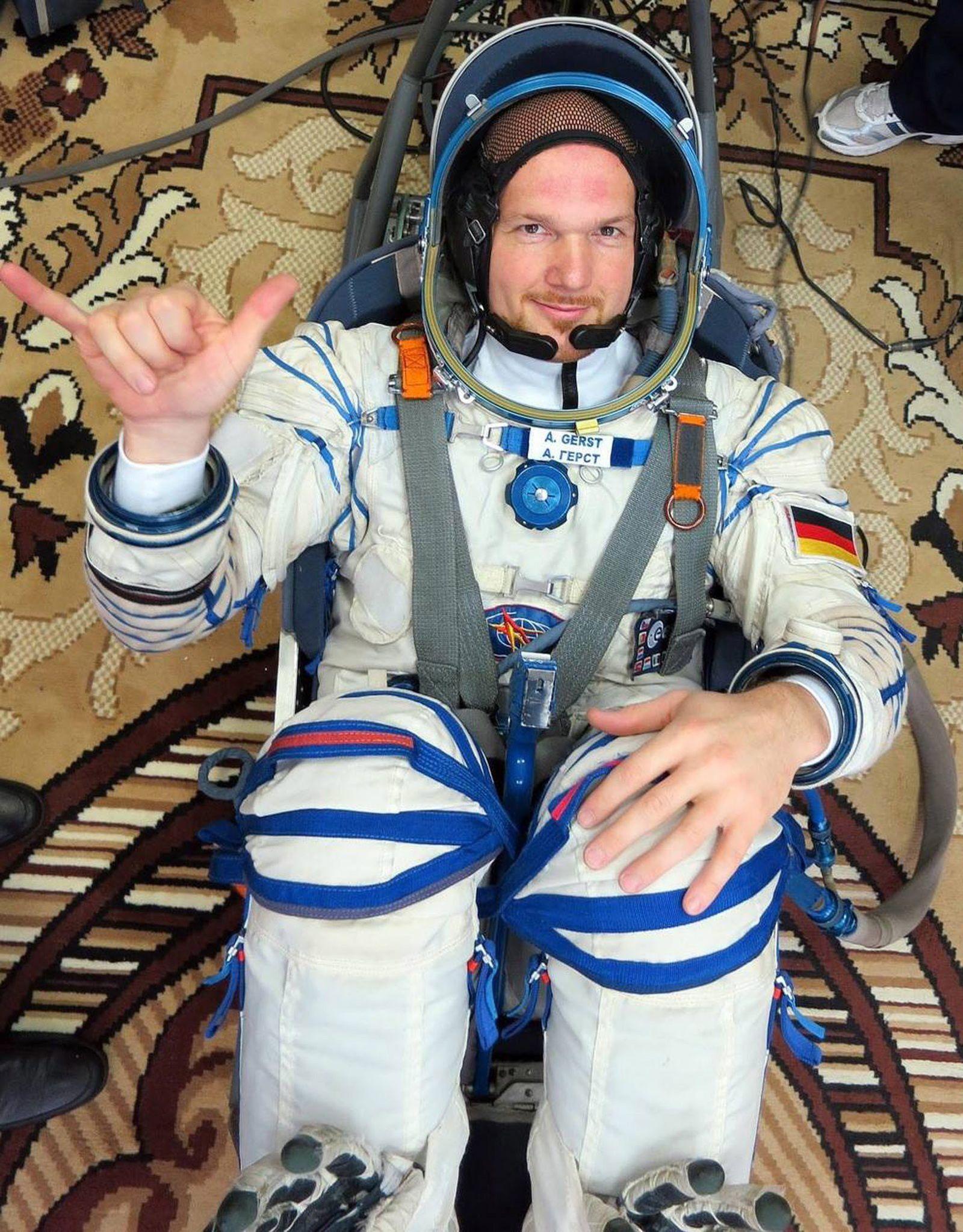 Astronaut Alexander Gerst Sokol suit