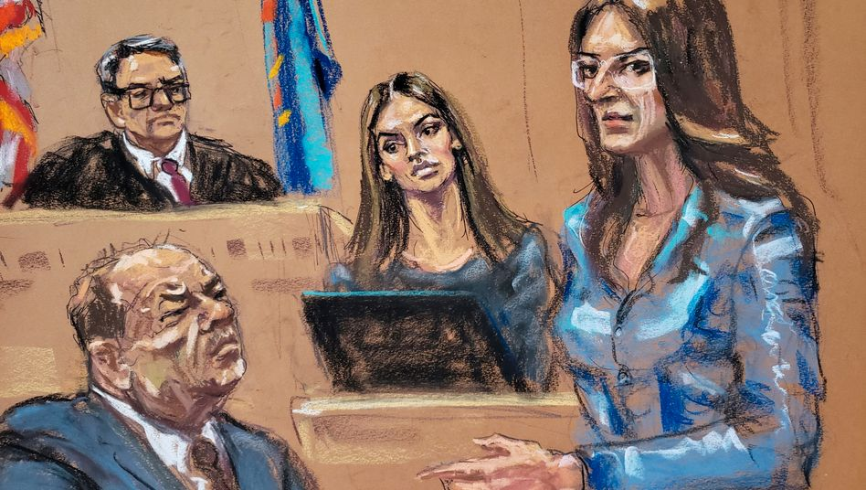 """Anwältin Rotunno (r.) mit ihrem Mandanten (Zeichnung vom 10. Februar): """"Die letzte Verteidigungslinie dieses Landes"""""""