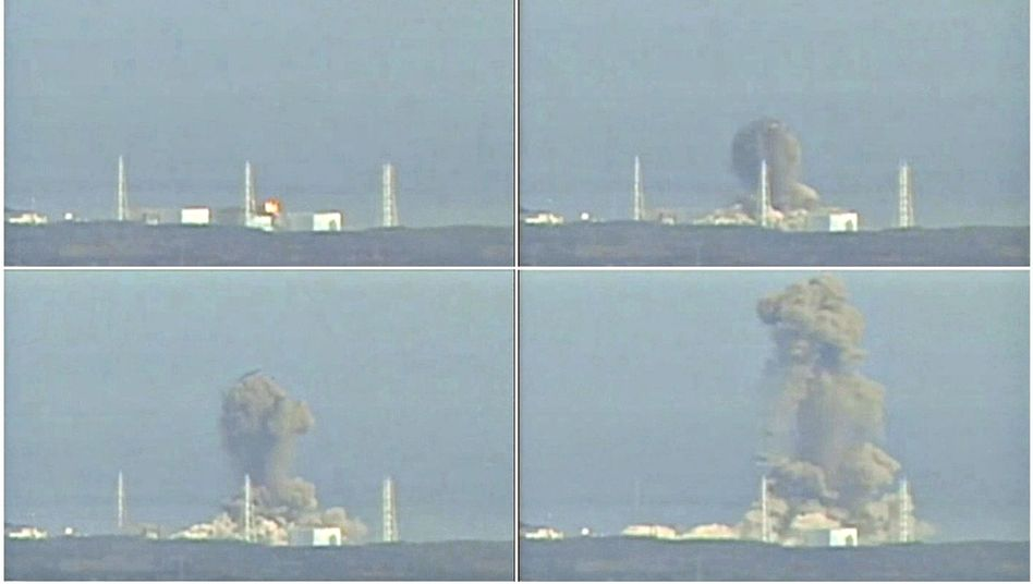 A combination photo showing an explosion at the Fukushima Daiichi plant on Monday.
