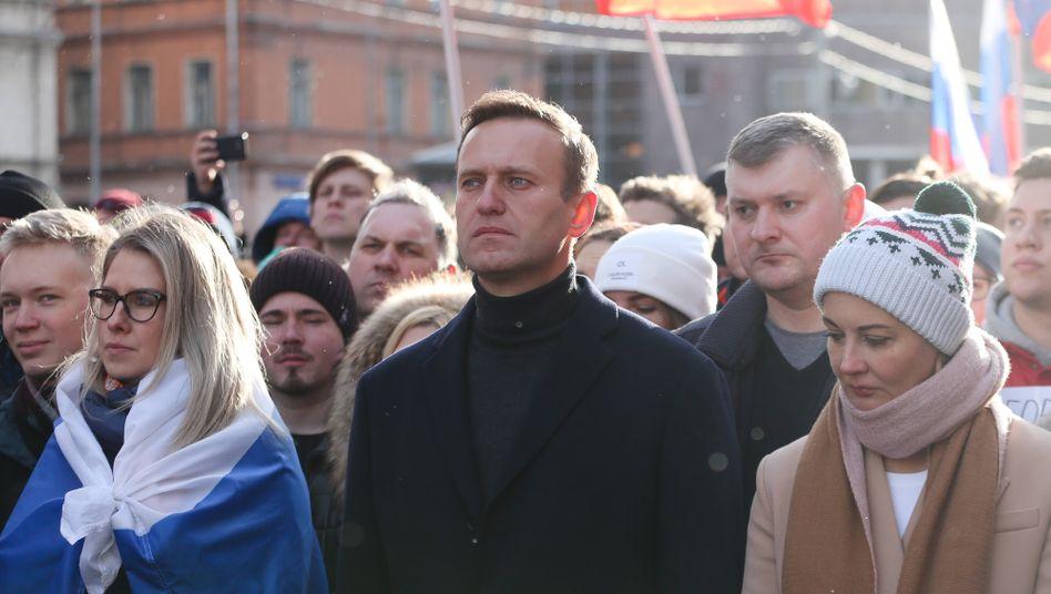 Alexej Nawalny auf einer Demonstration in Moskau im Februar 2019