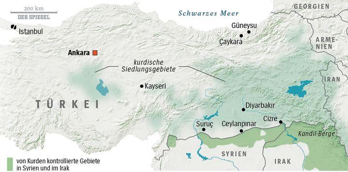 Kurdengebiete: Umkämpfte Orte im Südosten der Türkei