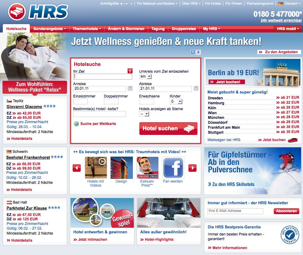 EINMALIGE VERWENDUNG Screenshot / HRS Hotel Reservation Service