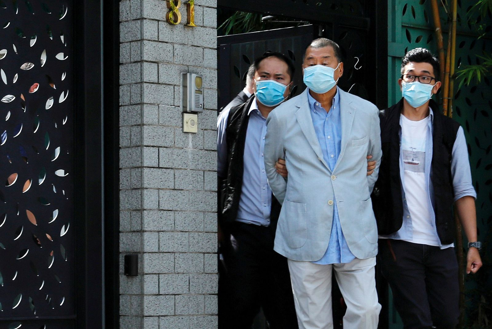 Media mogul Jimmy Lai Chee-ying, founder of Apple Daily is detained by the national security unit in Hong Kong