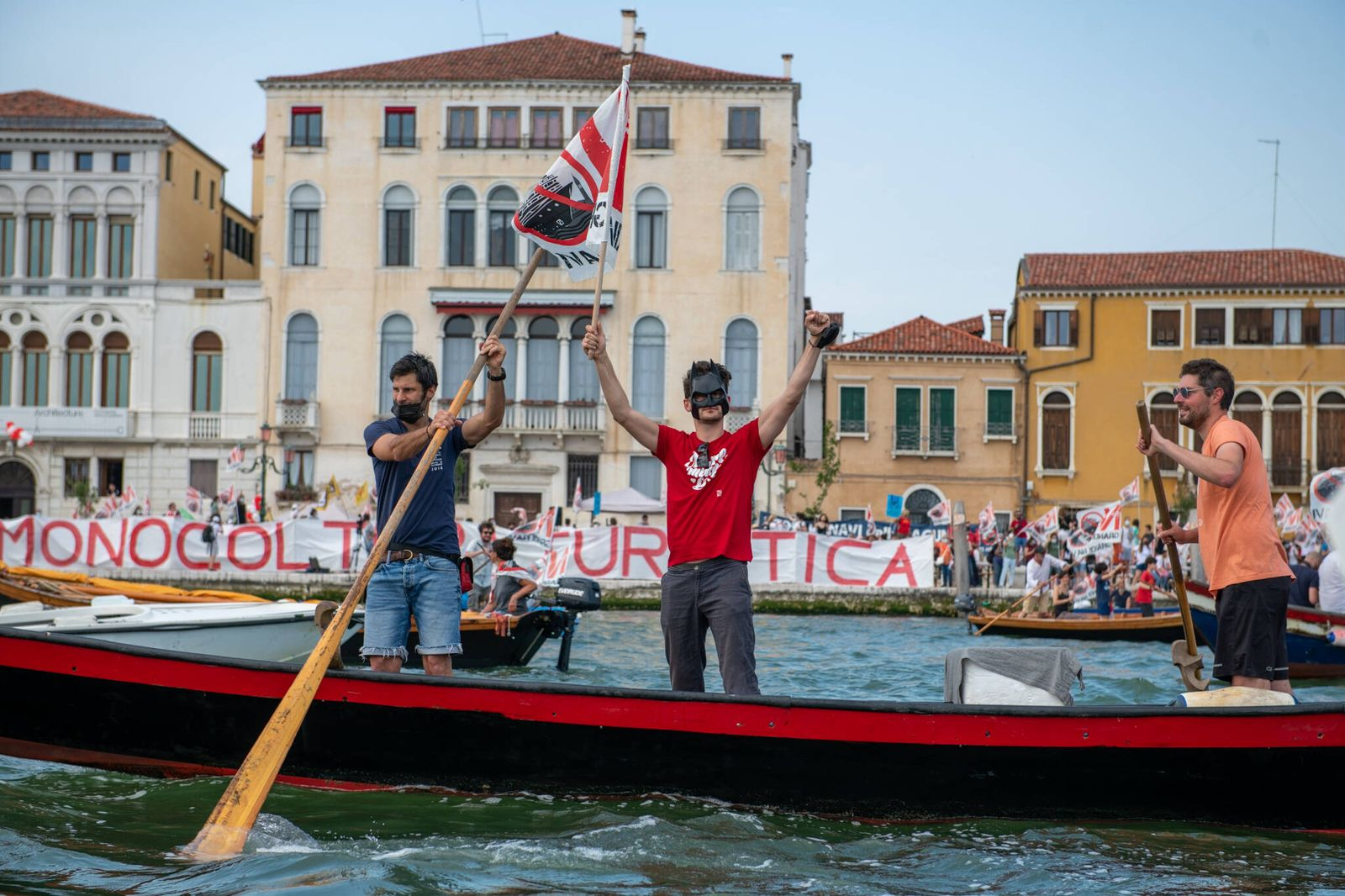 Protest Against Giant Cruise Ships People demonstrating on boats against the passage of the big ships in Venice, in Ven