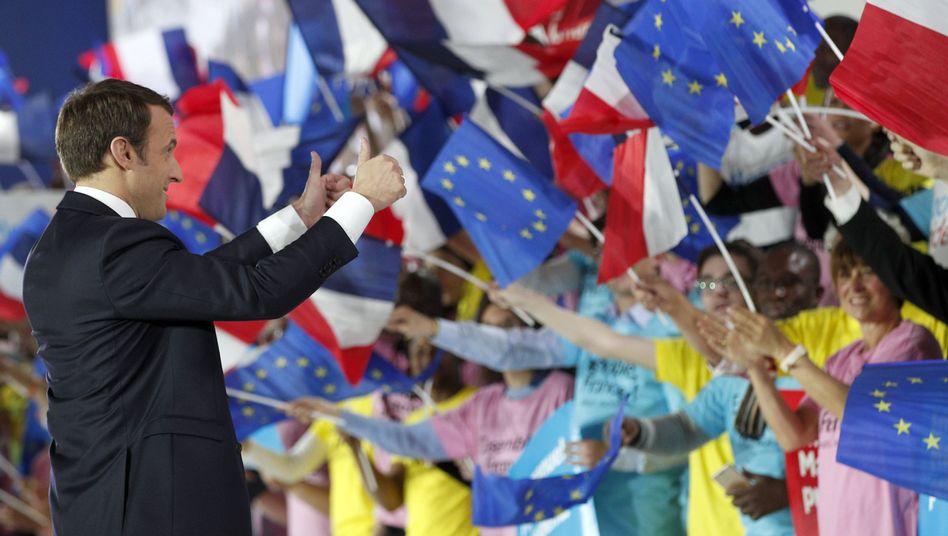 Macron im Wahlkampf Anfang Mai