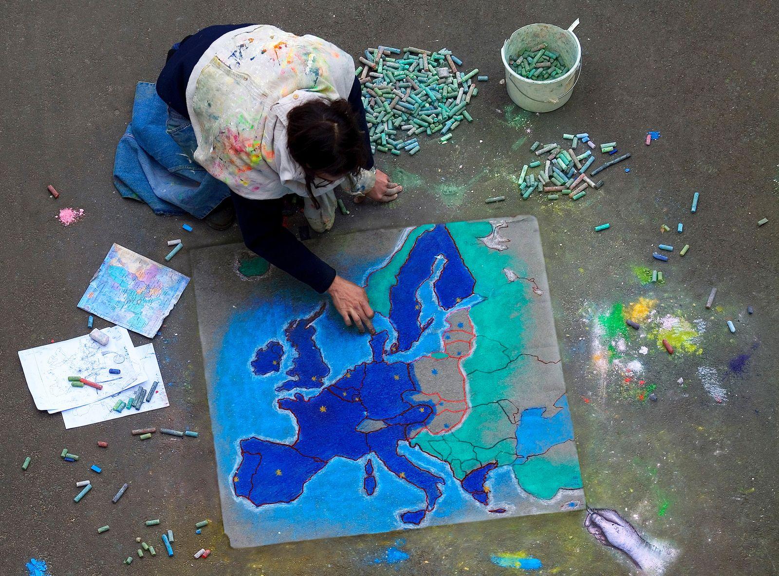 EINMALIGE VERWENDUNG EU / Europa / Europa-Karte / Malerei