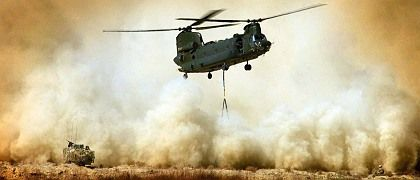 The NATO offensive against the Taliban in southern Afghanistan got underway in February. Here, a British helicopter supplying a patrol in the region.