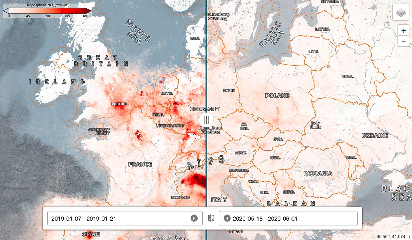 ESA Race Website - Nitrogen dioxide concentrations Europe