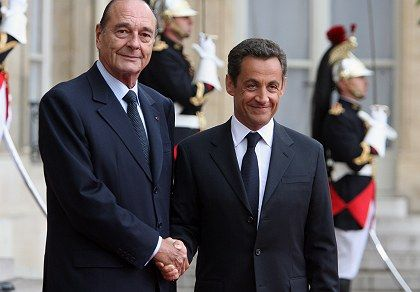 Outgoing French President Jacques Chirac, handed over to his successor Nicolas Sarkozy on Wednesday in Paris.