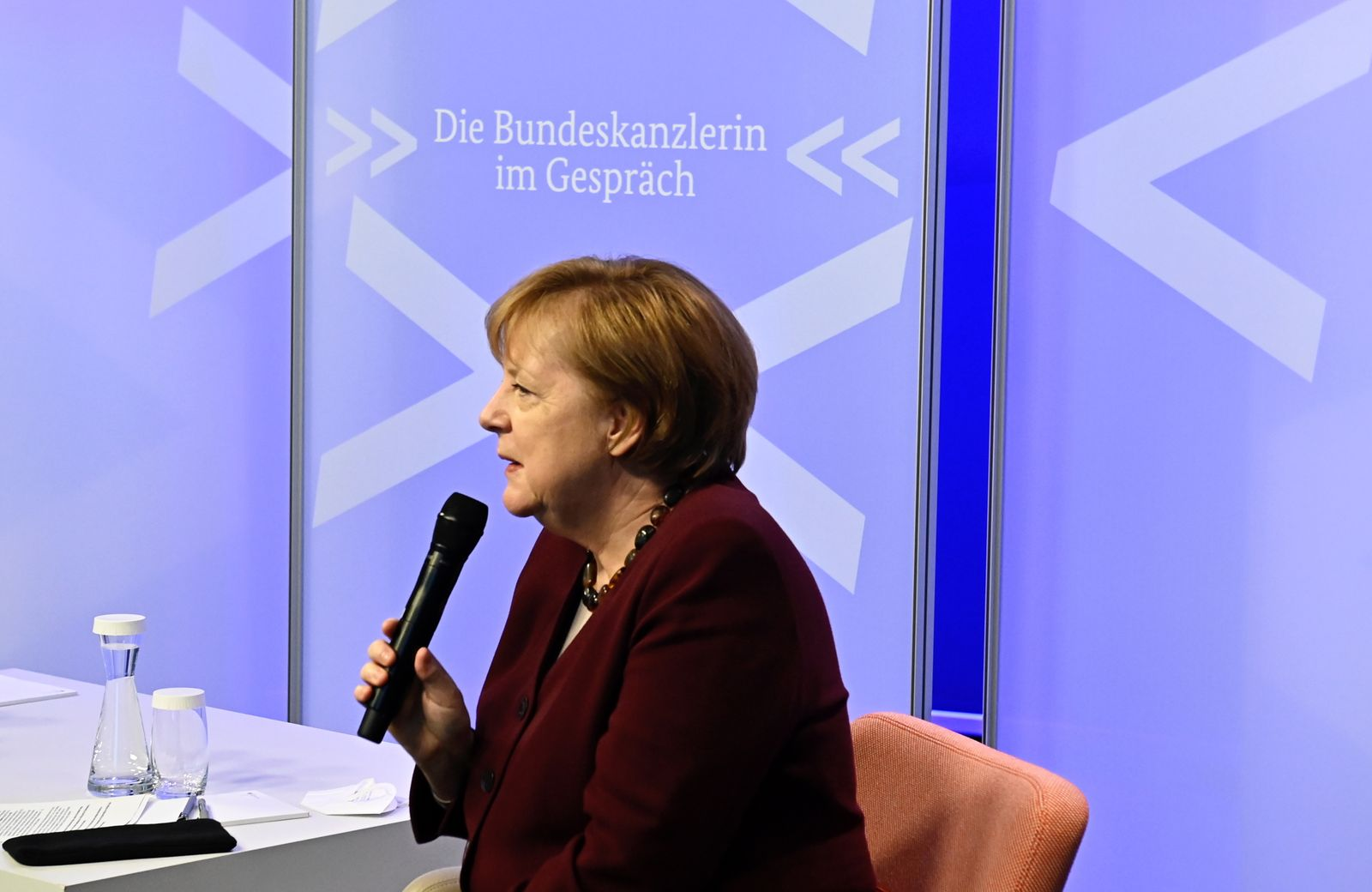 German Chancellor Angela Merkel holds online dialogue with students, Berlin, Germany - 15 Dec 2020