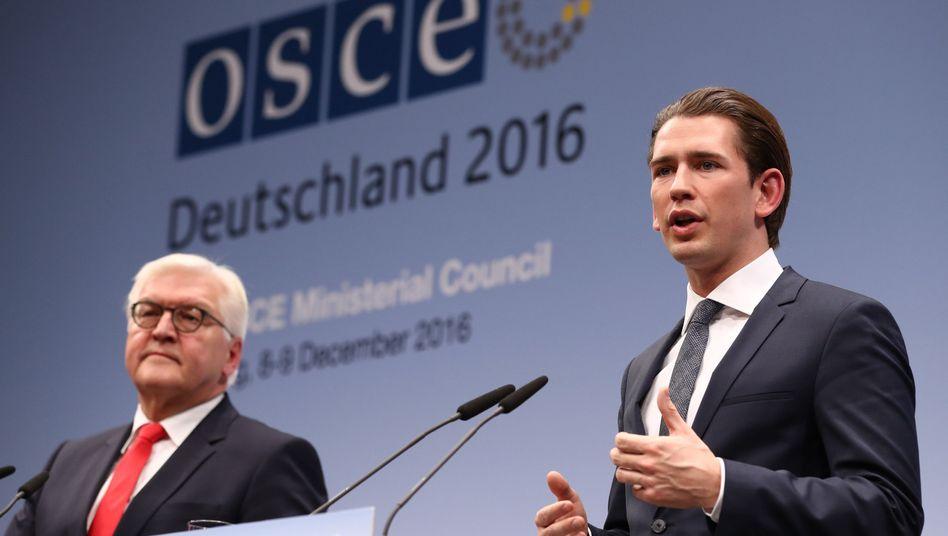 Außenminister Kurz (r.), Steinmeier