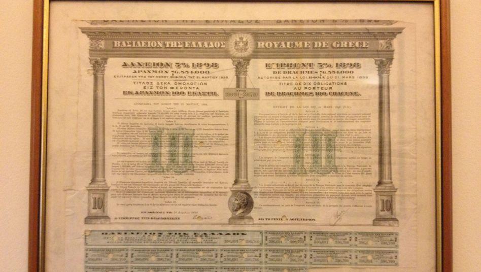 Historische griechische Anleihe im Finanzministerium (Archivbild)