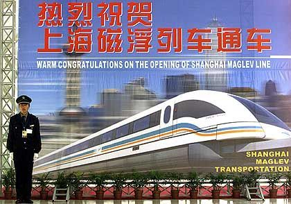 A poster in China advertising the Transrapid magnetic railway in 2002.