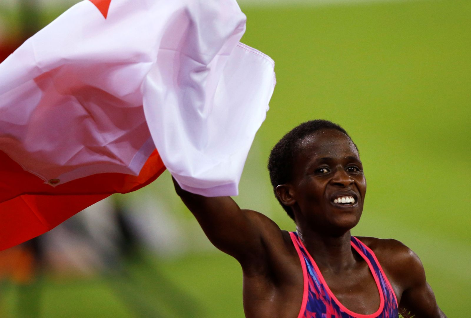 FILE PHOTO: Ruth Jebet of Bahrain celebrates after winning the gold medal at Diamond League meeting in Zurich