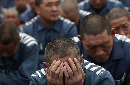 Inmates of a prison in Changchun, northeast China. The German parliament wants to ban imports of goods manufactured in Chinese labor camps.