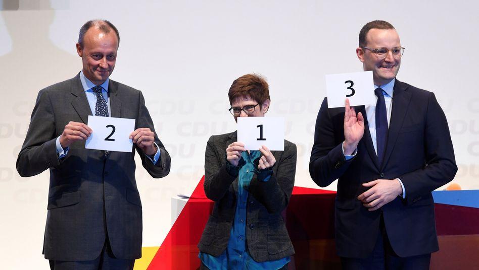 Friedrich Merz, Annegret Kramp-Karrenbauer und Jens Spahn (v. li.)