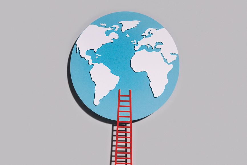 World With A Ladder. Conceptual Collage
