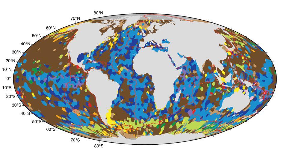 Neue Karte der Meeresböden: Blau zeigt Kalksedimente, Braun zeigt Tiefseeton (Schlick), Grün: Kieselsäureablagerungen, Gelb zeigt Sand, Orange: grobkörnige Sedimente (Schluff), Rosa zeigt Muschelschalen und Korallen.