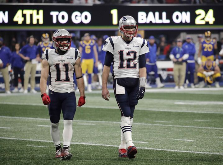 Julian Edelman (links) und Tom Brady