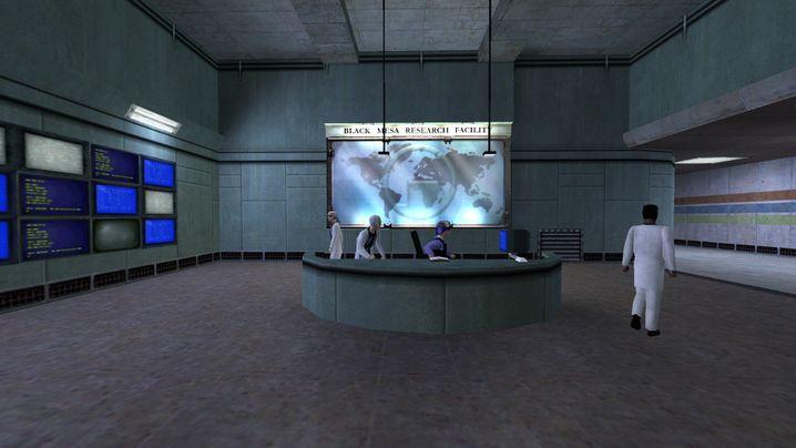 """So sieht der Eingangsbereich der Forschungseinrichtung Black Mesa in """"Half-Life"""" von 1998 aus..."""