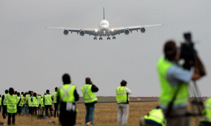 Landung des ersten A380-Linienflugs am 25. Oktober 2007 in Sydney