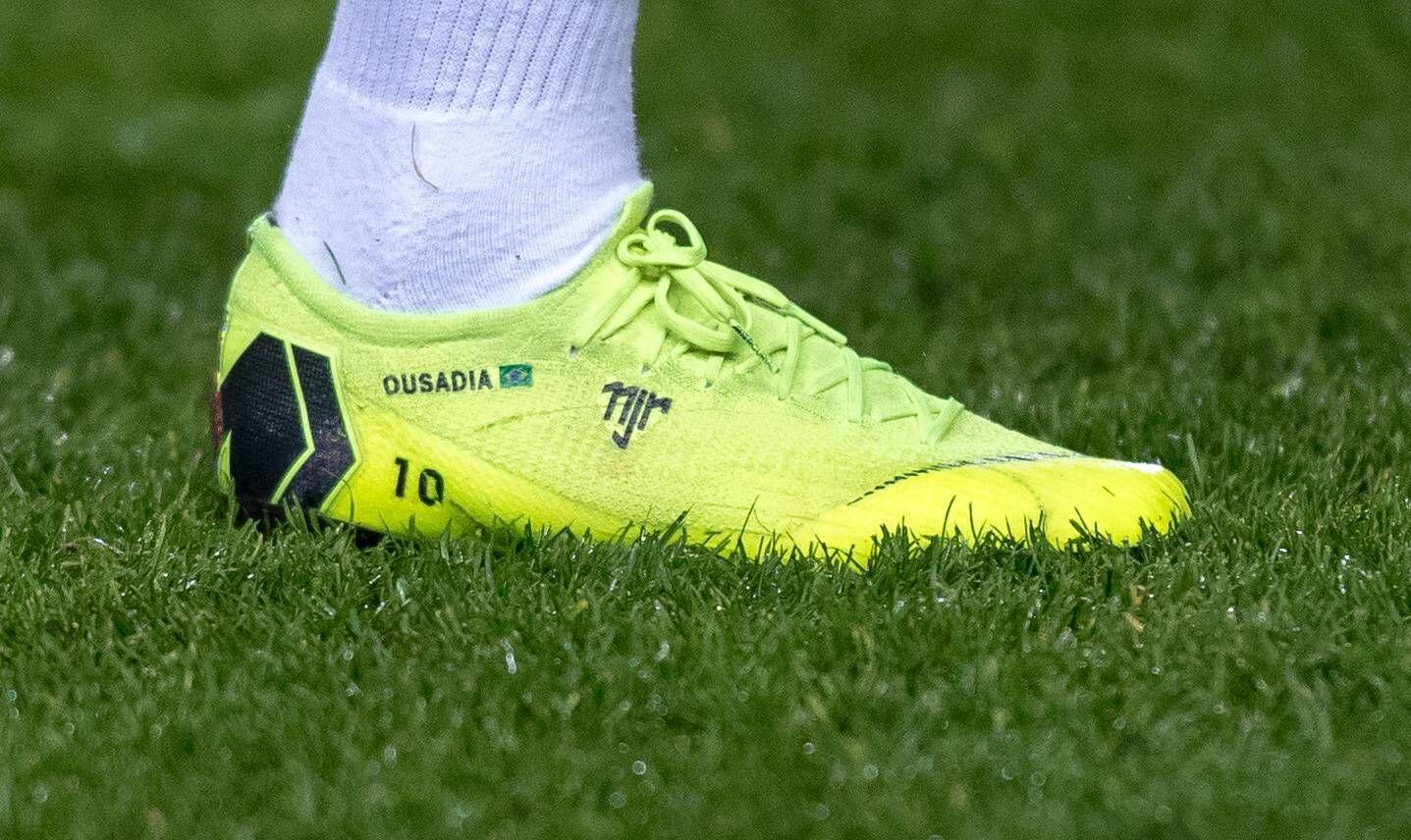The nike mercurial football boot of Neymar Paris Saint Germain of Brazil pre match displaying OUS