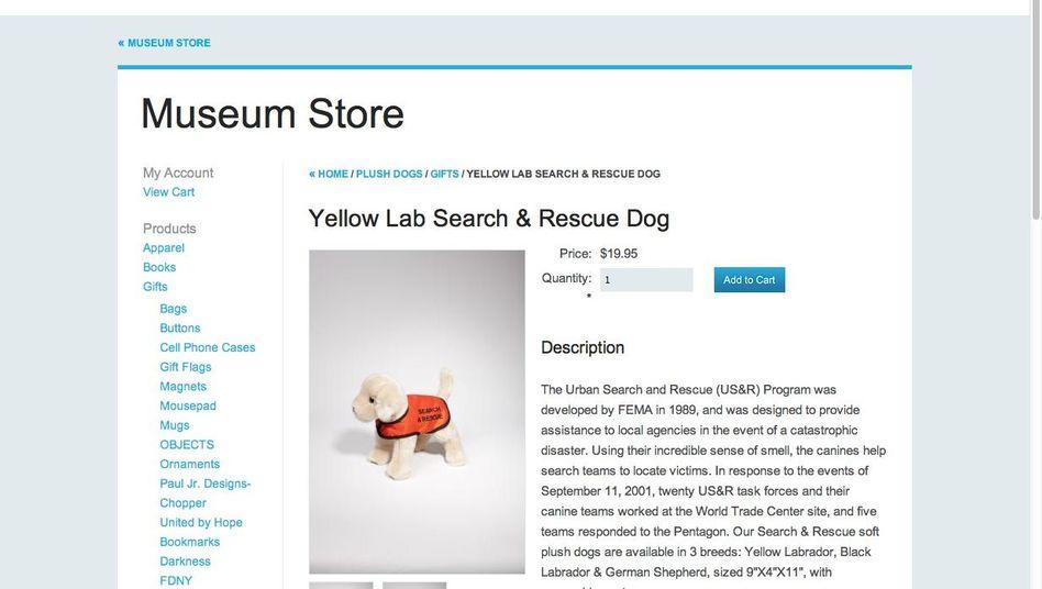 """Plüschhund aus dem 9/11-Souvenirshop (Screenshot): """"Schwer zu akzeptieren"""""""