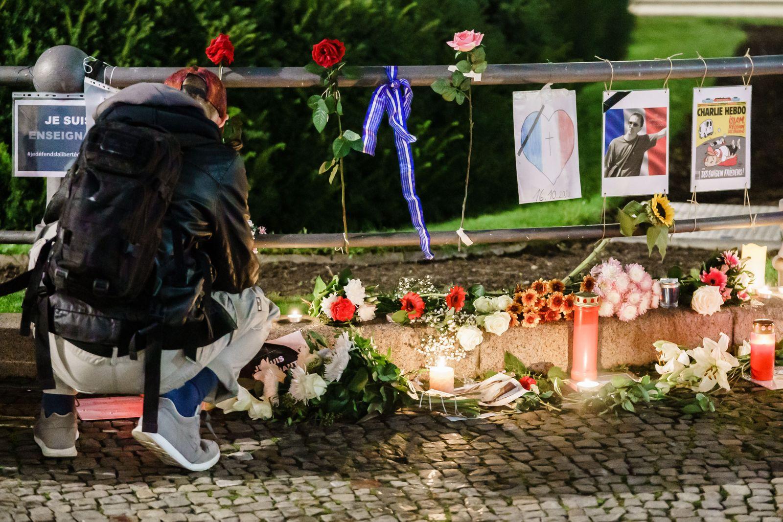 Vigil in Berlin commemorating killing of teacher Samuel Paty in Paris, Germany - 19 Oct 2020