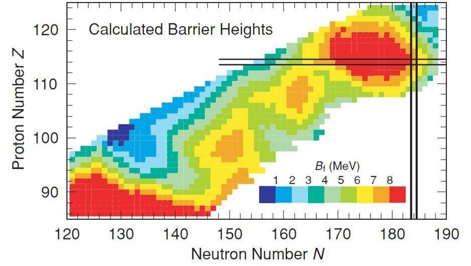 Superschwere Elemente: Schneller Zerfall bis zur Insel der Stabilität (rechts oben)