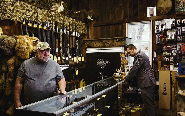 A gun shop in Pennsylvania: Weapons purchases have increased rapidly this year, partly due to violent unrest and protests in the country that have been fuelled by Donald Trump.
