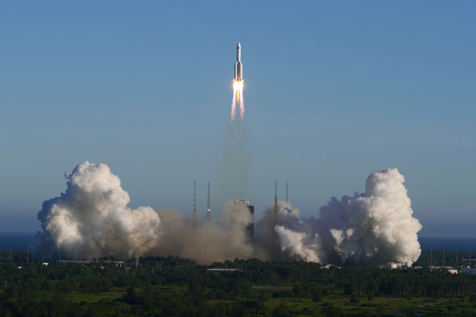 The Long March 5B carrier rocket takes off from Wenchang Space Launch Center in Wenchang, Hainan