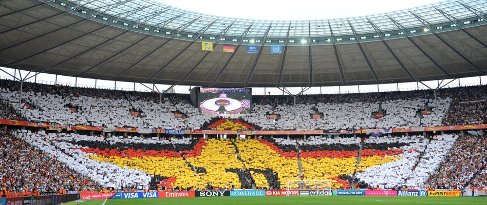 Berlin's Olympic Stadium, shown here, holds more than 74,000 spectators.