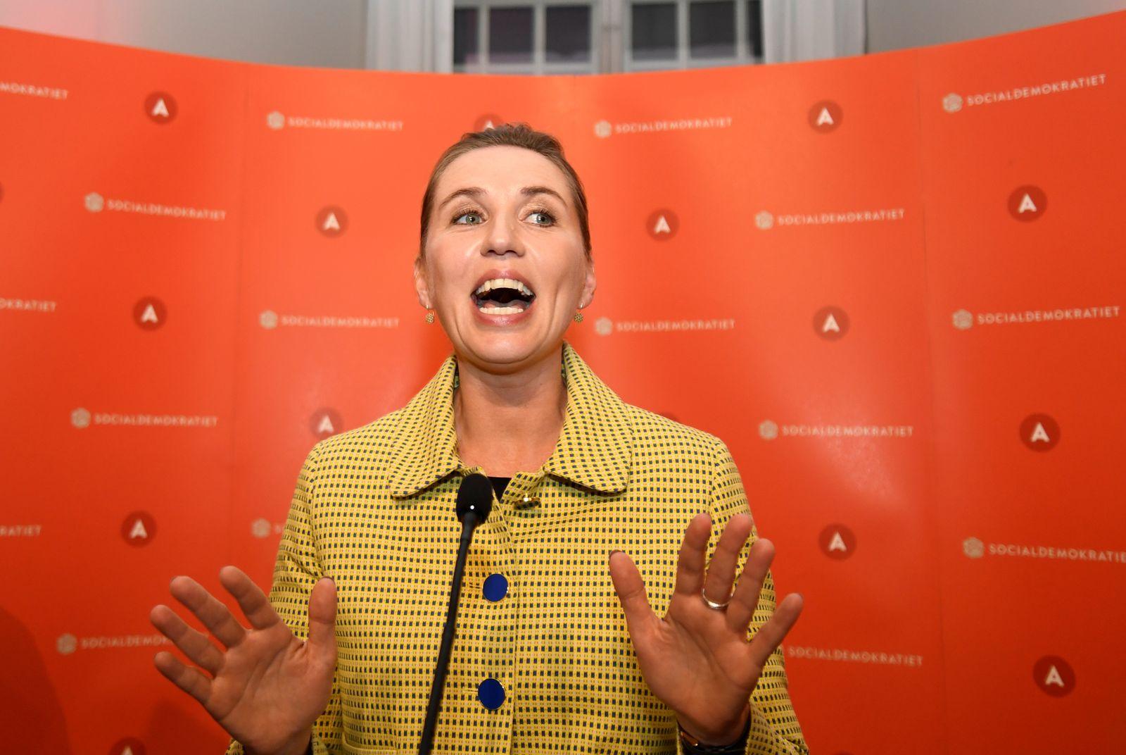 Social Democratic leader Mette Frederiksen delivers a speech in Copenhagen