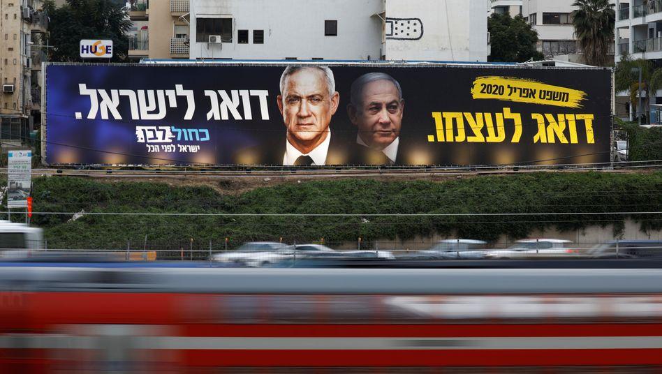 """Teilen sich den Vornamen, sind aber Rivalen: Premier Benjamin """"Bibi"""" Netanyahu und sein Herausforderer, Ex-Generalstabschef Benjamin """"Benny"""" Gantz"""