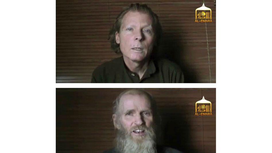 Ein um Juni 2017 veröffentlichtes Bild zeigt den US-Amerikaner Kevin King in Geiselhaft der Taliban