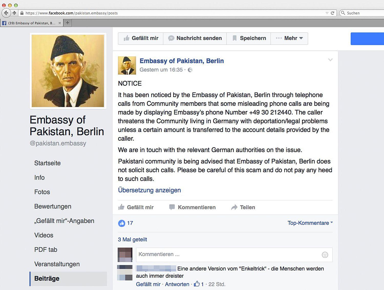 EINMALIGE VERWENDUNG Botschaft Pakistan Berlin SCREENSHOT